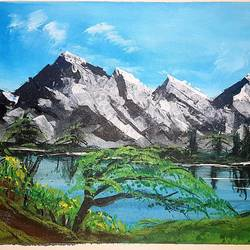 by side of a lake, 24 x 18 inch, khurshid bhat,24x18inch,canvas,paintings,landscape paintings,conceptual paintings,nature paintings | scenery paintings,acrylic color,GAL02840140731