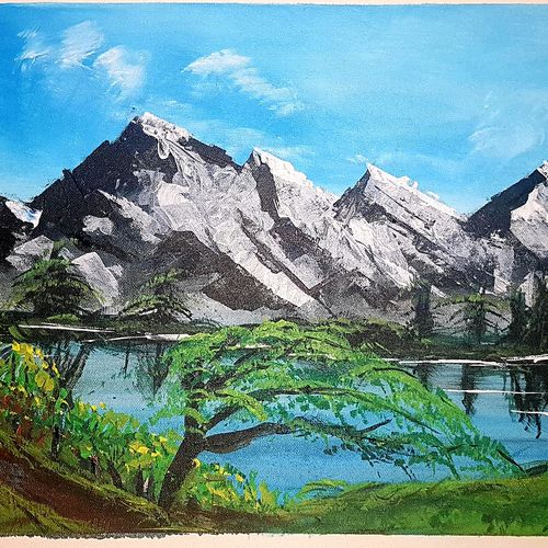 by side of a lake, 24 x 18 inch, khurshid bhat,24x18inch,canvas,paintings,landscape paintings,conceptual paintings,nature paintings   scenery paintings,acrylic color,GAL02840140731