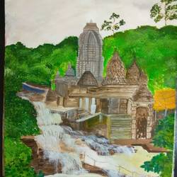temple near the waterfall, 15 x 11 inch, roopkotha s,15x11inch,drawing paper,paintings,landscape paintings,nature paintings | scenery paintings,acrylic color,paper,GAL02786540737