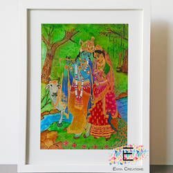 glass painting radha krishna, 17 x 22 inch, puja k,17x22inch,acrylic glass,paintings,religious paintings,radha krishna paintings,paintings for dining room,paintings for living room,paintings for office,paintings for hotel,paintings for hospital,glass,GAL02756540738