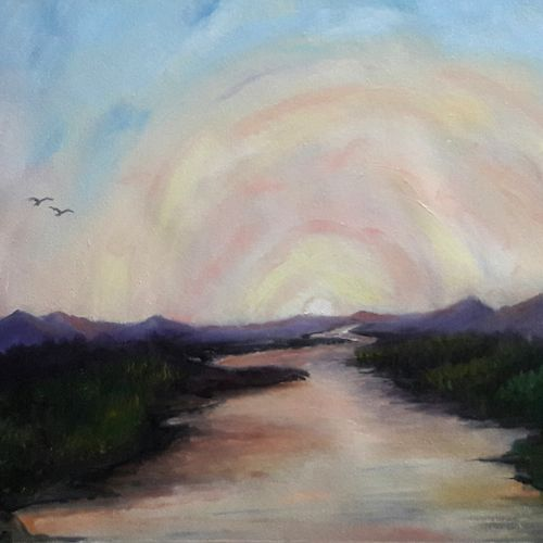 sunrise in the valley, 19 x 12 inch, rambling tiger,landscape paintings,paintings for office,nature paintings,canvas,oil paint,19x12inch,GAL08864074Nature,environment,Beauty,scenery,greenery