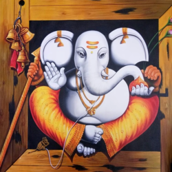 bell ganesha, 36 x 36 inch, pramod  kumar,36x36inch,canvas,paintings,religious paintings,art deco paintings,ganesha paintings | lord ganesh paintings,paintings for dining room,paintings for living room,paintings for bedroom,paintings for office,paintings for kids room,paintings for hotel,paintings for kitchen,paintings for school,paintings for hospital,acrylic color,GAL02078840744