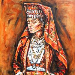albanian girl , 47 x 39 inch, saranda xhemajli,47x39inch,canvas,paintings,figurative paintings,portrait paintings,realism paintings,paintings for dining room,paintings for living room,paintings for office,paintings for hotel,oil color,GAL0797540745