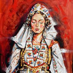 albanian girl , 47 x 39 inch, saranda xhemajli,47x39inch,canvas,paintings,figurative paintings,portrait paintings,oil color,GAL0797540748