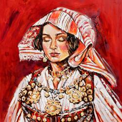 albanian girl , 47 x 39 inch, saranda xhemajli,47x39inch,canvas,paintings,figurative paintings,portrait paintings,oil color,GAL0797540750