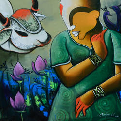 conversation  41, 24 x 24 inch, anupam  pal,24x24inch,canvas,paintings,abstract paintings,buddha paintings,wildlife paintings,figurative paintings,paintings for dining room,paintings for living room,paintings for bedroom,paintings for office,paintings for bathroom,paintings for kids room,paintings for hotel,paintings for kitchen,paintings for school,paintings for hospital,acrylic color,GAL08240758