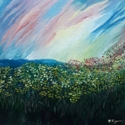 field of flowers, 8 x 7 inch, rambling tiger,impressionist paintings,paintings for living room,flower paintings,landscape paintings,nature paintings,canvas,oil paint,8x7inch,GAL08864076Nature,environment,Beauty,scenery,greenery