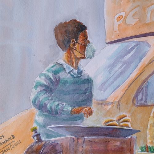 street food vendor, 15 x 10 inch, ajay anand,15x10inch,handmade paper,paintings,cityscape paintings,conceptual paintings,street art,contemporary paintings,paintings for dining room,paintings for living room,paintings for office,paintings for kids room,watercolor,GAL01783940761