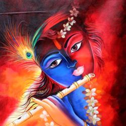 lord krishna playing flute, 24 x 36 inch, pramod  kumar,24x36inch,canvas,paintings,religious paintings,radha krishna paintings,paintings for dining room,paintings for living room,paintings for bedroom,paintings for office,paintings for kids room,paintings for hotel,paintings for kitchen,paintings for school,paintings for hospital,acrylic color,GAL02078840772