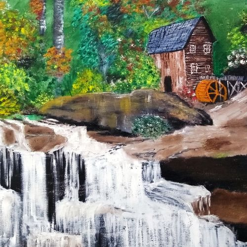 beautiful waterfall in a forest, 20 x 20 inch, ashish gupta,20x20inch,canvas board,paintings,abstract paintings,landscape paintings,portrait paintings,nature paintings | scenery paintings,acrylic color,GAL01415440775