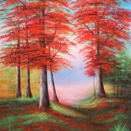 fall trees, 24 x 36 inch, pramod  kumar,24x36inch,canvas,paintings,flower paintings,nature paintings | scenery paintings,paintings for dining room,paintings for living room,paintings for bedroom,paintings for office,paintings for kids room,paintings for hotel,paintings for kitchen,paintings for school,paintings for hospital,acrylic color,GAL02078840777