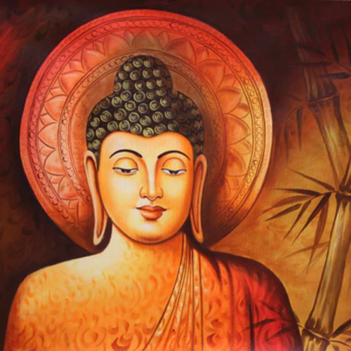 lord buddha with bamboo leaves, 36 x 24 inch, pramod  kumar,36x24inch,canvas,paintings,buddha paintings,religious paintings,paintings for dining room,paintings for living room,paintings for bedroom,paintings for office,paintings for kids room,paintings for hotel,paintings for kitchen,paintings for school,paintings for hospital,acrylic color,GAL02078840778