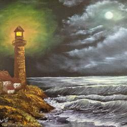 lighthouse in moonlight, 20 x 16 inch, krishna ghosh,20x16inch,canvas,paintings,landscape paintings,conceptual paintings,nature paintings | scenery paintings,oil color,GAL02828840789