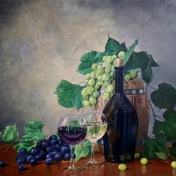 black and green grapes, 24 x 20 inch, pushpendra singh mandloi,24x20inch,hardboard,paintings,still life paintings,realistic paintings,paintings for dining room,paintings for living room,paintings for hotel,oil color,GAL0726240790