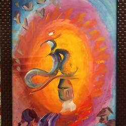 om painting1, 12 x 16 inch, bhumika kumawat,12x16inch,thick paper,abstract paintings,landscape paintings,modern art paintings,religious paintings,nature paintings | scenery paintings,realism paintings,contemporary paintings,realistic paintings,acrylic color,GAL02800140795