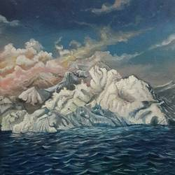 floating ice land, 12 x 16 inch, rambling tiger,landscape paintings,paintings for office,nature paintings,canvas,oil paint,12x16inch,GAL08864080Nature,environment,Beauty,scenery,greenery,beautiful,sunrise,ice,water,river,lake,clouds,mountain
