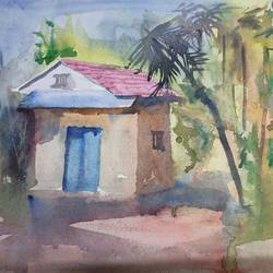 sunny day, 10 x 12 inch, surendra  panchal,10x12inch,handmade paper,paintings,landscape paintings,paintings for living room,paintings for living room,watercolor,paper,GAL01323540805