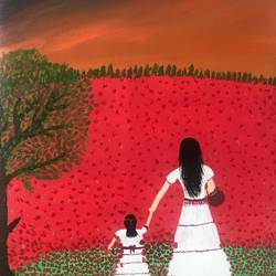 mom & daughter in red flower meadow, 12 x 16 inch, ruchi chandra verma,12x16inch,canvas,paintings,figurative paintings,landscape paintings,paintings for dining room,paintings for living room,paintings for bedroom,paintings for kids room,acrylic color,GAL02794540809