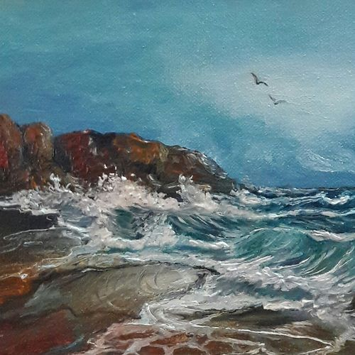 lapping waves, 7 x 5 inch, rambling tiger,impressionist paintings,paintings for living room,canvas,oil paint,7x5inch,GAL08864081