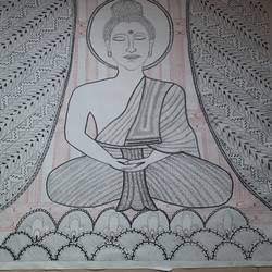 buddha in madhubani, 36 x 48 inch, lakshmi menon,36x48inch,canvas,drawings,folk drawings,buddha drawings,paintings for dining room,paintings for living room,paintings for bedroom,paintings for office,paintings for hotel,paintings for hospital,ink color,pen color,ball point pen,GAL02888740815