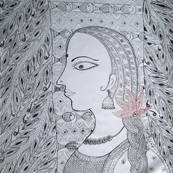 lady in the garden, 24 x 36 inch, lakshmi menon,24x36inch,canvas,paintings,folk art paintings,madhubani paintings | madhubani art,paintings for dining room,paintings for living room,paintings for bedroom,paintings for office,paintings for hotel,ink color,pen color,GAL02888740816
