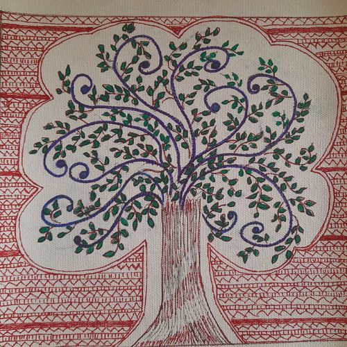 the banyan tree, 9 x 9 inch, lakshmi menon,9x9inch,canvas,paintings,folk art paintings,nature paintings   scenery paintings,madhubani paintings   madhubani art,paintings for dining room,paintings for living room,paintings for bedroom,paintings for office,paintings for kids room,paintings for hotel,paintings for kitchen,paintings for school,paintings for hospital,ink color,pen color,ball point pen,GAL02888740821