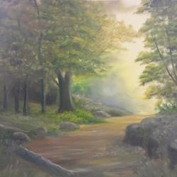 sunlight at the edge of the forest, 16 x 12 inch, krishna ghosh,16x12inch,canvas,paintings,landscape paintings,conceptual paintings,nature paintings | scenery paintings,contemporary paintings,paintings for dining room,paintings for living room,paintings for bedroom,paintings for office,paintings for hotel,paintings for kitchen,paintings for school,paintings for hospital,oil color,GAL02828840824