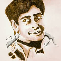 shashi kapoor - nicknamed as taxi by raj kapoor, 11 x 8 inch, tejas vazare,11x8inch,paper,drawings,portrait drawings,oil color,pen color,GAL02879440826