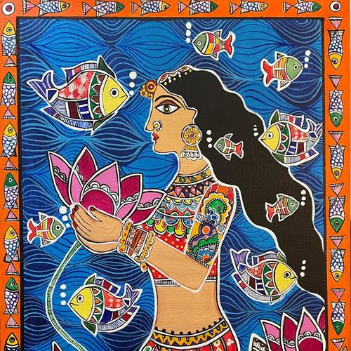 madhubani mermaid, 16 x 24 inch, astha khanna,16x24inch,canvas,madhubani paintings | madhubani art,paintings for living room,paintings for living room,acrylic color,GAL02889740838