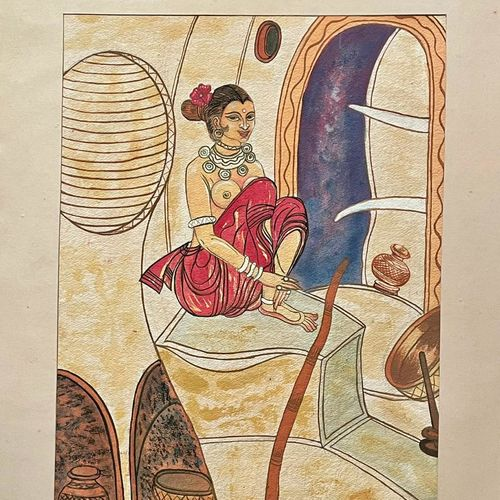 indian folk art, 14 x 20 inch, astha khanna,14x20inch,thick paper,paintings,folk art paintings,paintings for dining room,paintings for living room,paintings for bedroom,paintings for hotel,watercolor,paper,GAL02889740843
