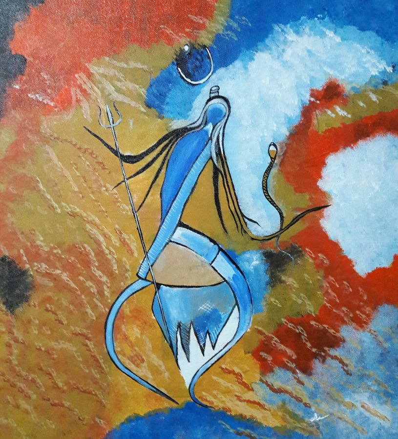 abstract art of lord shiva, 16 x 18 inch, indhuja raghavan,abstract paintings,paintings for living room,lord shiva paintings,canvas,acrylic color,16x18inch,GAL01104085