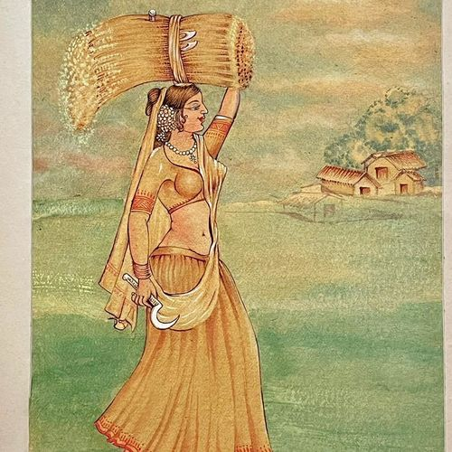 indian folk art, 14 x 20 inch, astha khanna,14x20inch,thick paper,paintings,contemporary paintings,paintings for dining room,paintings for living room,paintings for bedroom,paintings for hotel,watercolor,paper,GAL02889740850