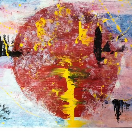 blood moon, 20 x 16 inch, atharv wahal,20x16inch,canvas board,paintings,acrylic color,GAL02877740854