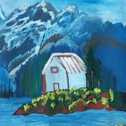 snow capped mountains , 12 x 8 inch, krithi acharya,12x8inch,thick paper,landscape paintings,paintings for living room,paintings for living room,poster color,paper,GAL02890340859