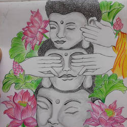 gautam buddha , 11 x 16 inch, priya  verma,11x16inch,drawing paper,paintings,buddha paintings,paintings for dining room,paintings for bathroom,paintings for dining room,paintings for bathroom,pencil color,GAL02889440861