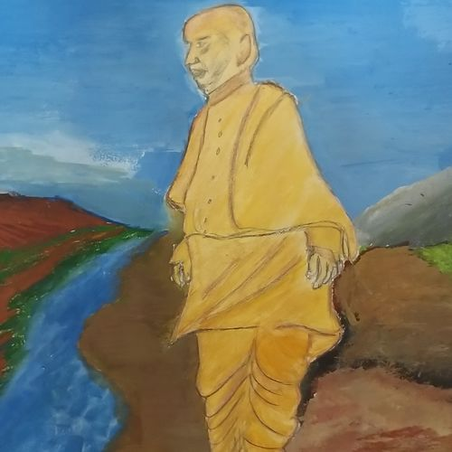 statue of unity, 12 x 8 inch, krithi acharya,12x8inch,thick paper,paintings,figurative paintings,cityscape paintings,paintings for dining room,paintings for living room,paintings for hotel,paintings for dining room,paintings for living room,paintings for hotel,poster color,GAL02890340864