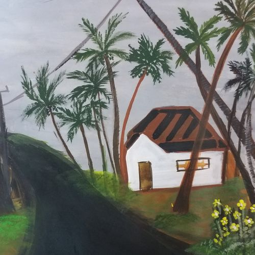 village surrounded by coconut trees, 12 x 8 inch, krithi acharya,12x8inch,thick paper,paintings,landscape paintings,paintings for dining room,paintings for living room,paintings for bedroom,paintings for office,paintings for dining room,paintings for living room,paintings for bedroom,paintings for office,acrylic color,GAL02890340865