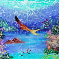 mermaid under water painting, 12 x 16 inch, veena nandavaram,12x16inch,canvas board,paintings,landscape paintings,nature paintings   scenery paintings,art deco paintings,paintings for dining room,paintings for living room,paintings for bedroom,paintings for office,paintings for bathroom,paintings for kids room,paintings for hotel,paintings for kitchen,paintings for school,paintings for hospital,acrylic color,GAL02687040866