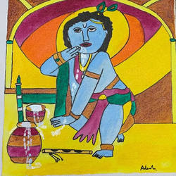 baal krishna, 10 x 8 inch, adarsh daga,10x8inch,canvas,paintings,figurative paintings,conceptual paintings,religious paintings,paintings for dining room,paintings for living room,paintings for bedroom,paintings for office,paintings for hotel,paintings for school,paintings for hospital,paintings for dining room,paintings for living room,paintings for bedroom,paintings for office,paintings for hotel,paintings for school,paintings for hospital,acrylic color,fabric,natural color,GAL02891540867