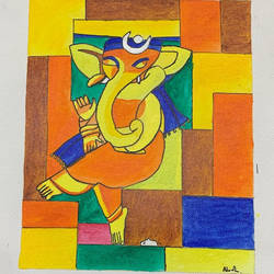 ganpati blessing, 10 x 8 inch, adarsh daga,10x8inch,canvas,paintings,abstract paintings,modern art paintings,conceptual paintings,religious paintings,ganesha paintings | lord ganesh paintings,paintings for dining room,paintings for living room,paintings for bedroom,paintings for office,paintings for kids room,paintings for hotel,paintings for school,paintings for hospital,acrylic color,GAL02891540868