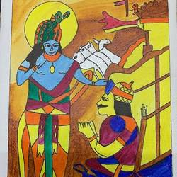 lord krishna imparts geeta to arjun, 12 x 10 inch, adarsh daga,12x10inch,canvas,paintings,abstract paintings,figurative paintings,landscape paintings,modern art paintings,conceptual paintings,religious paintings,radha krishna paintings,paintings for dining room,paintings for living room,paintings for bedroom,paintings for office,paintings for kids room,paintings for hotel,paintings for school,paintings for hospital,paintings for dining room,paintings for living room,paintings for bedroom,paintings for office,paintings for kids room,paintings for hotel,paintings for school,paintings for hospital,acrylic color,GAL02891540869