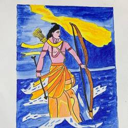 lord ram, 12 x 10 inch, adarsh daga,12x10inch,canvas,paintings,abstract paintings,figurative paintings,religious paintings,paintings for dining room,paintings for living room,paintings for bedroom,paintings for office,paintings for kids room,paintings for hotel,paintings for kitchen,paintings for school,paintings for hospital,acrylic color,GAL02891540872
