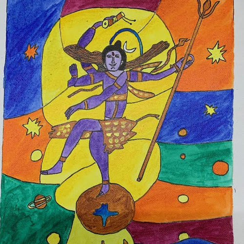 lord shiv dancing, 12 x 10 inch, adarsh daga,12x10inch,canvas,paintings,abstract paintings,figurative paintings,religious paintings,lord shiva paintings,paintings for dining room,paintings for living room,paintings for bedroom,paintings for office,paintings for kids room,paintings for hotel,paintings for kitchen,paintings for school,paintings for hospital,acrylic color,GAL02891540873