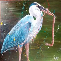 blue heron, 24 x 19 inch, arushi  gupta ,24x19inch,canvas,wildlife paintings,paintings for dining room,paintings for living room,paintings for bedroom,paintings for office,paintings for dining room,paintings for living room,paintings for bedroom,paintings for office,acrylic color,GAL02892440876