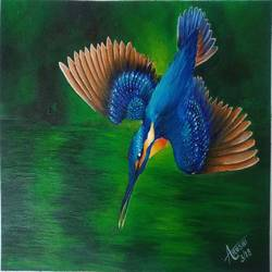 kingfisher, 12 x 8 inch, arushi  gupta ,12x8inch,thick paper,paintings,wildlife paintings,paintings for dining room,paintings for living room,paintings for bedroom,paintings for office,acrylic color,GAL02892440878