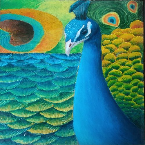 peacock, 12 x 16 inch, arushi  gupta ,12x16inch,thick paper,paintings,wildlife paintings,paintings for dining room,paintings for living room,paintings for bedroom,paintings for office,acrylic color,GAL02892440879