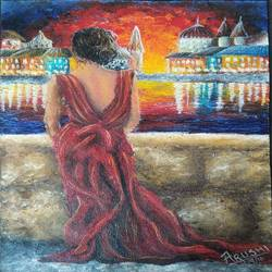 lady in red dress, 16 x 10 inch, arushi  gupta ,16x10inch,canvas,paintings,figurative paintings,cityscape paintings,paintings for dining room,paintings for living room,paintings for bedroom,paintings for office,acrylic color,GAL02892440880