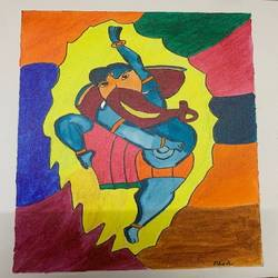 dancing ganpati, 12 x 10 inch, adarsh daga,12x10inch,canvas,paintings,abstract paintings,figurative paintings,conceptual paintings,religious paintings,ganesha paintings | lord ganesh paintings,paintings for dining room,paintings for living room,paintings for bedroom,paintings for office,paintings for kids room,paintings for hotel,paintings for kitchen,paintings for school,paintings for hospital,acrylic color,GAL02891540883