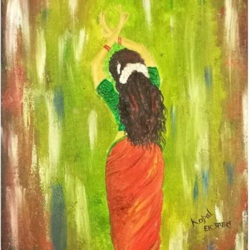 dance mudra, 12 x 16 inch, kopal raizada,12x16inch,canvas,paintings,figurative paintings,paintings for living room,paintings for bedroom,oil color,GAL02891640885