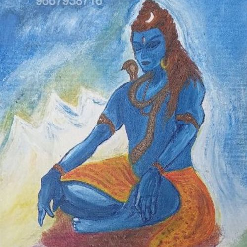 neellkanth, 12 x 16 inch, kopal raizada,12x16inch,canvas,paintings,lord shiva paintings,paintings for living room,paintings for office,paintings for hotel,paintings for hospital,oil color,GAL02891640887